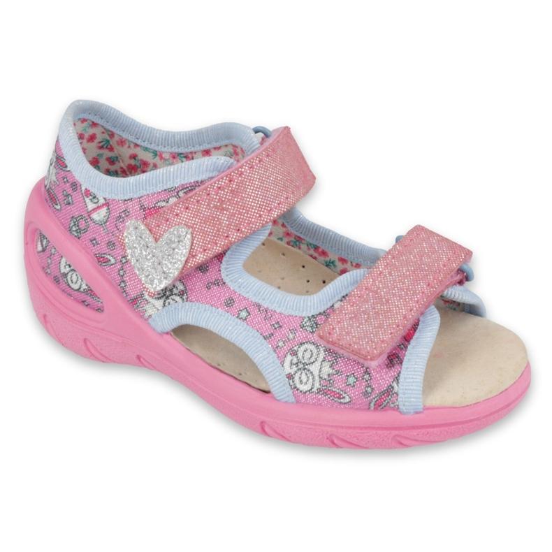 Befado obuwie dziecięce pu 065X147 różowe srebrny szare