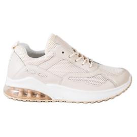 SHELOVET Beżowe Sneakersy Z Siateczką beżowy