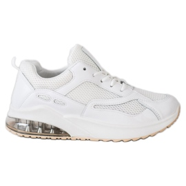SHELOVET Białe Sneakersy Z Siateczką
