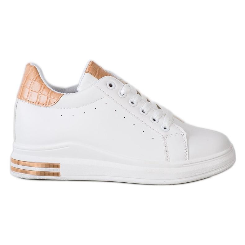 Ideal Shoes Wiosenne Sneakersy Na Koturnie białe