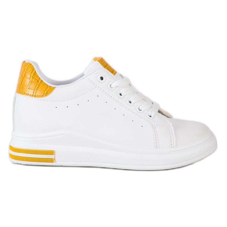 Ideal Shoes Wiosenne Sneakersy Na Koturnie białe żółte