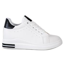 Ideal Shoes Wiosenne Sneakersy Na Koturnie białe czarne