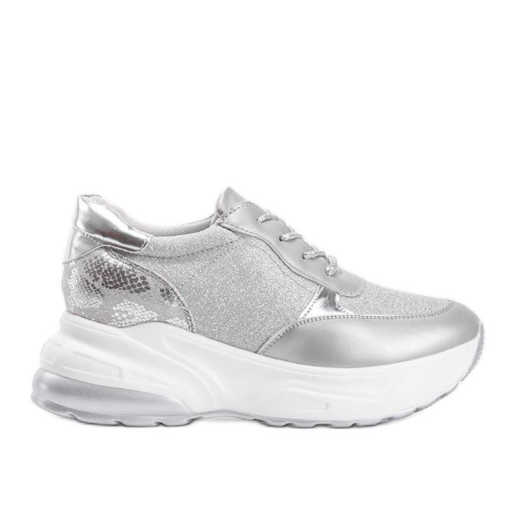 Srebrne sneakersy na grubej podeszwie Amy srebrny