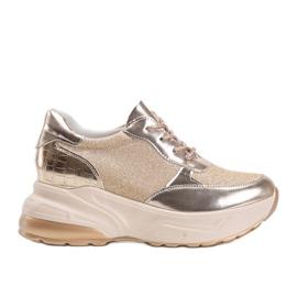Złote sneakersy na grubej podeszwie Amy złoty