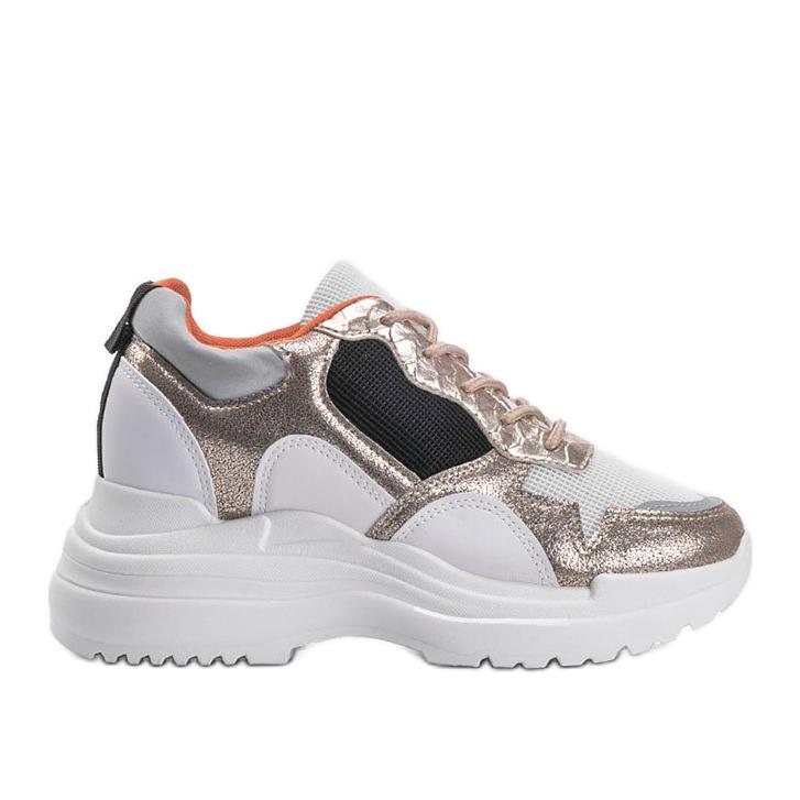 Biało-złote sneakersy na koturnie Alexandra białe złoty
