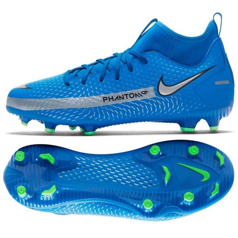 Buty piłkarskie Nike Phantom Gt Academy Df FG/MG Jr CW6694 400 niebieskie wielokolorowe