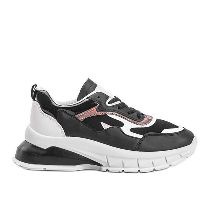 Czarne sneakersy na grubej podeszwie Kristen