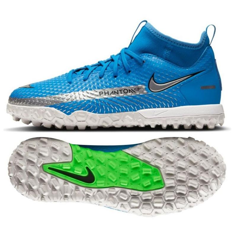 Buty piłkarskie Nike Phantom Gt Academy Df Tf Jr CW6695 400 niebieskie niebieskie
