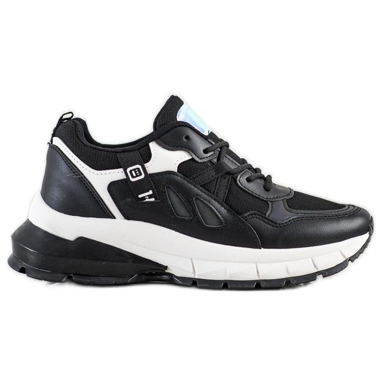 SHELOVET Sneakersy Na Platformie Z Siateczką czarne