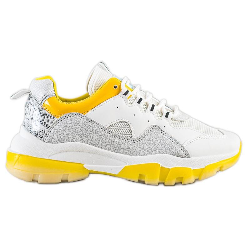 Ideal Shoes Sneakersy Na Żółtej Platformie białe