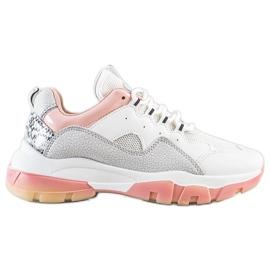 Ideal Shoes Sneakersy Na Różowej Platformie białe