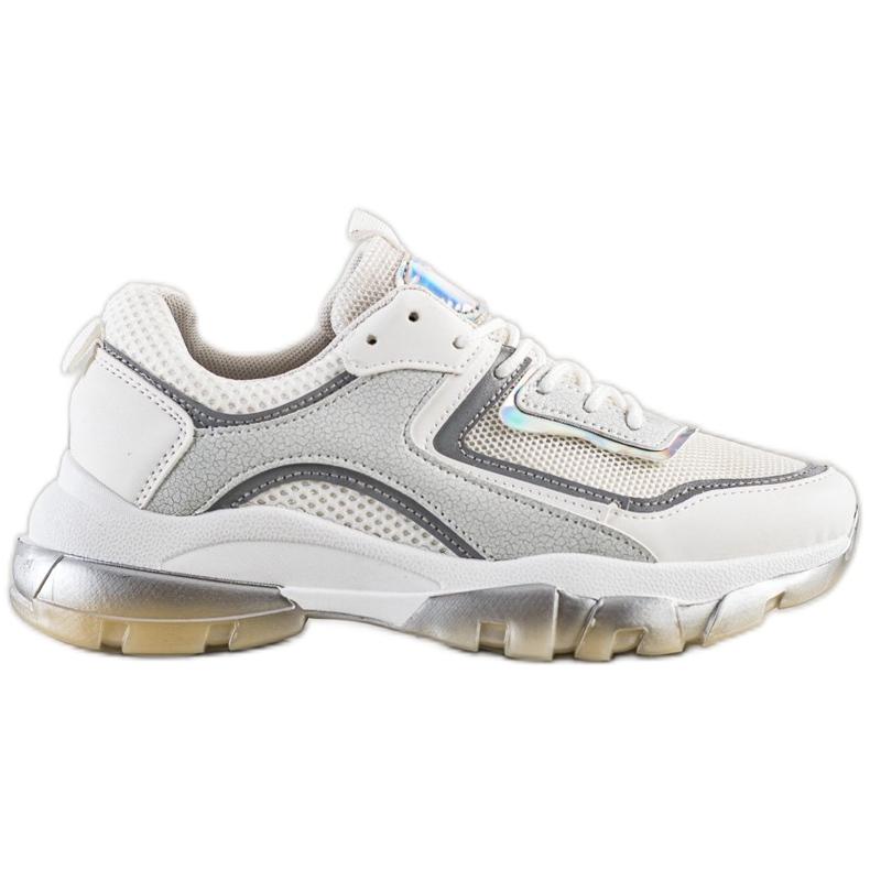 Ideal Shoes Sneakersy Z Brokatową Wstawką białe