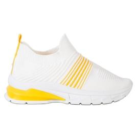 SHELOVET Wiosenne Ażurowe Sneakersy białe żółte