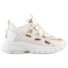 SHELOVET Stylowe Sneakersy Z Eko Skóry beżowy złoty