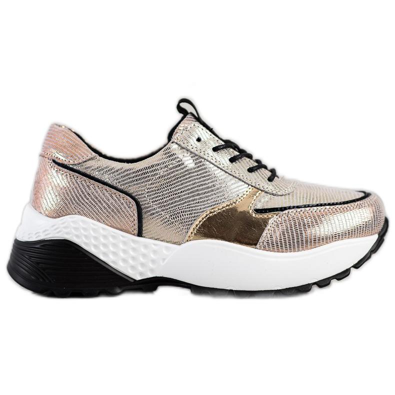 Złote Skórzane Sneakersy VINCEZA czarne złoty