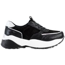 Czarne Skórzane Sneakersy VINCEZA srebrny