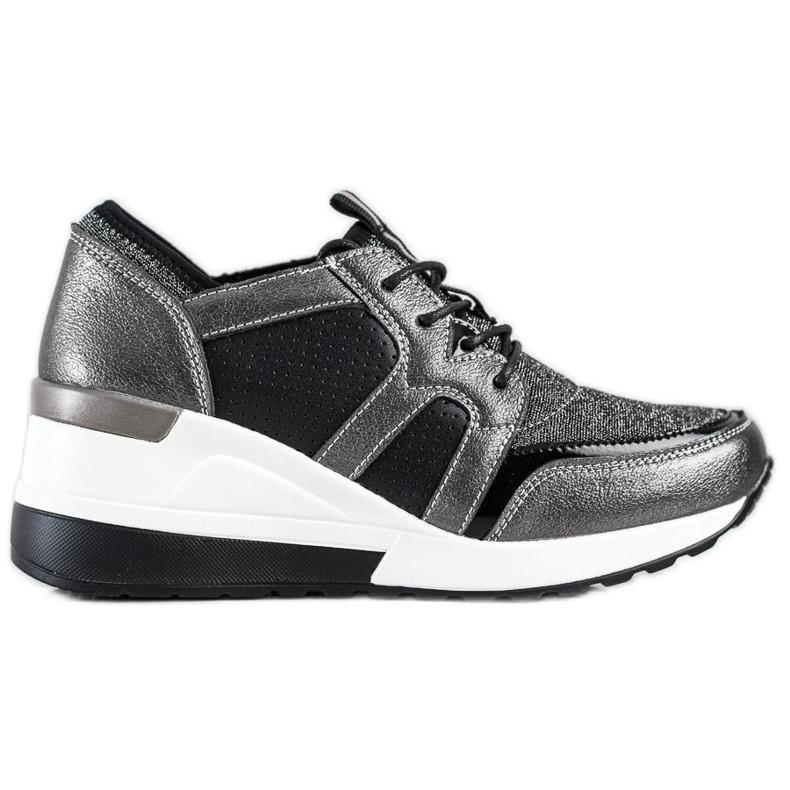 Błyszczące Sneakersy Ze Skóry VINCEZA czarne srebrny