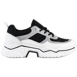 SHELOVET Wygodne Sportowe Sneakersy białe czarne srebrny