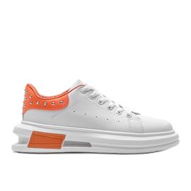 Biało pomarańczowe sneakersy damskie Taranto białe