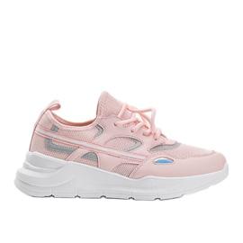 Różowe sneakersy sportowe Lativia białe