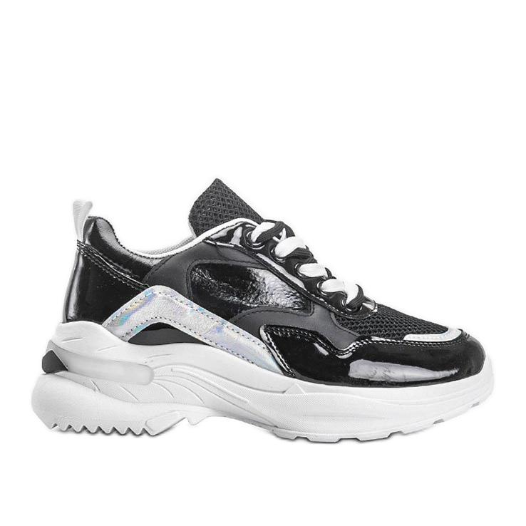 Czarne sneakersy z holograficznymi wstawkami Karlie białe