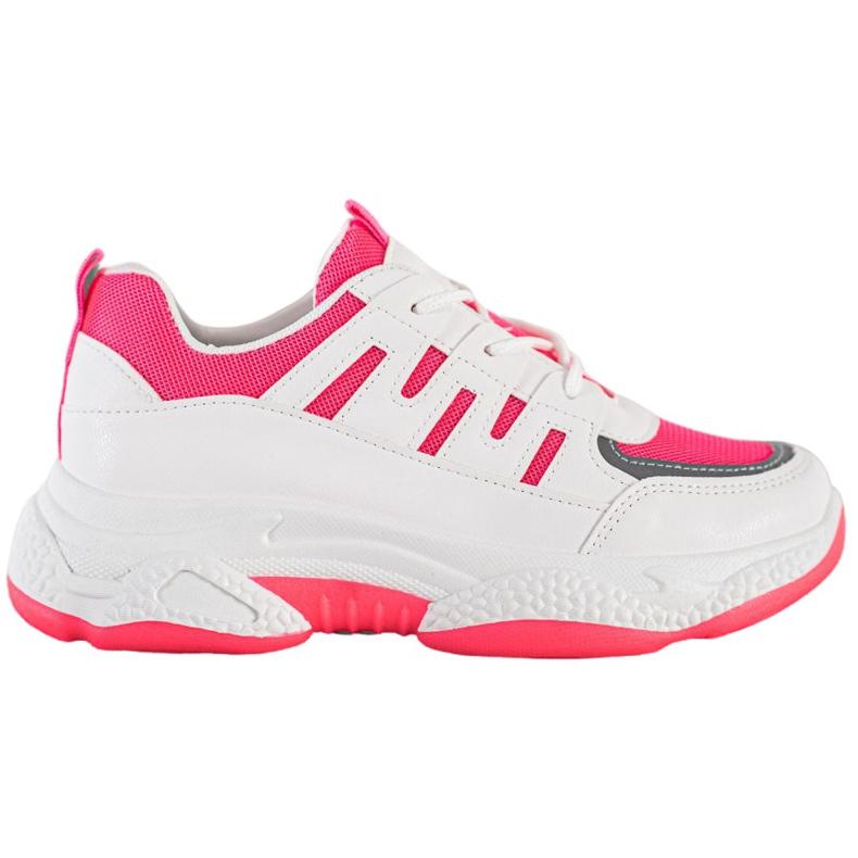 SHELOVET Wygodne Sneakersy Z Siateczką BH-001RO białe różowe