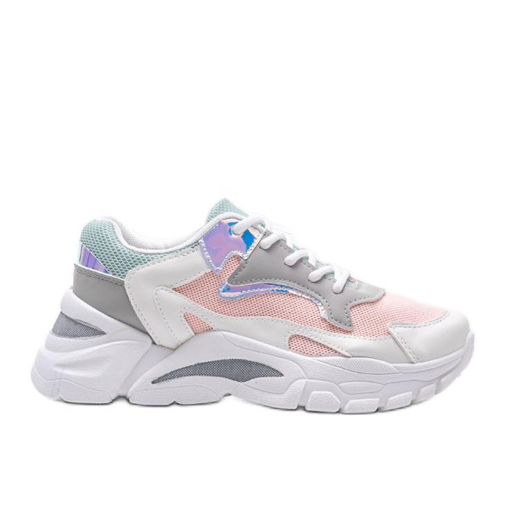 Biało-różowe sneakersy sportowe Lesly białe