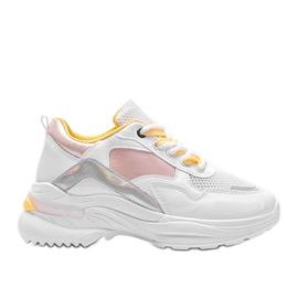 Białe sneakersy z holograficznymi wstawkami Karlie różowe