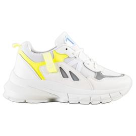 SHELOVET Sneakersy Na Platformie Z Siateczką białe wielokolorowe