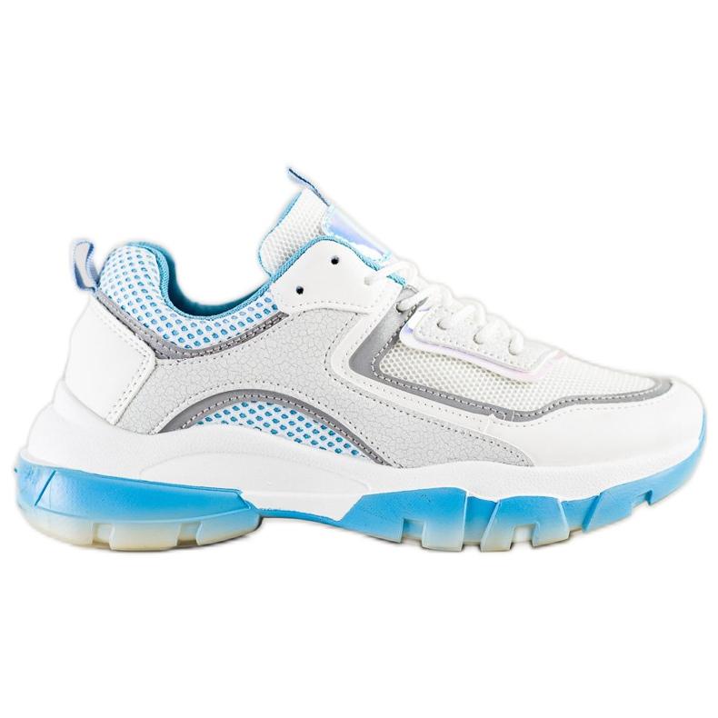 Ideal Shoes Sneakersy Z Brokatową Wstawką białe wielokolorowe