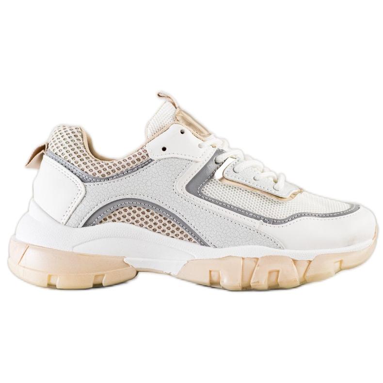 Ideal Shoes Sneakersy Z Brokatową Wstawka białe wielokolorowe