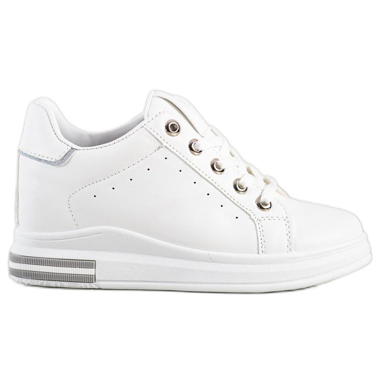 SHELOVET Białe Sneakersy Na Koturnie