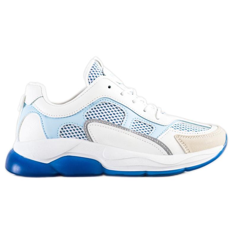 Via Giulia  Sneakersy Z Brokatem Fashion białe niebieskie