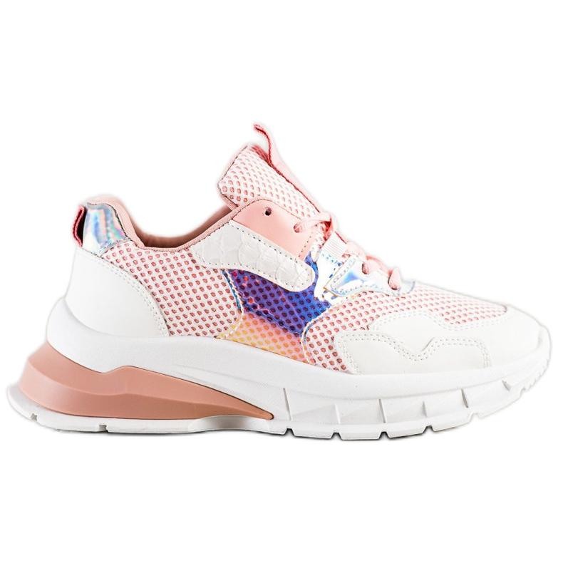 SHELOVET Modne Sneakersy białe różowe