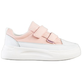 SHELOVET Wygodne Sneakersy Na Rzep białe różowe