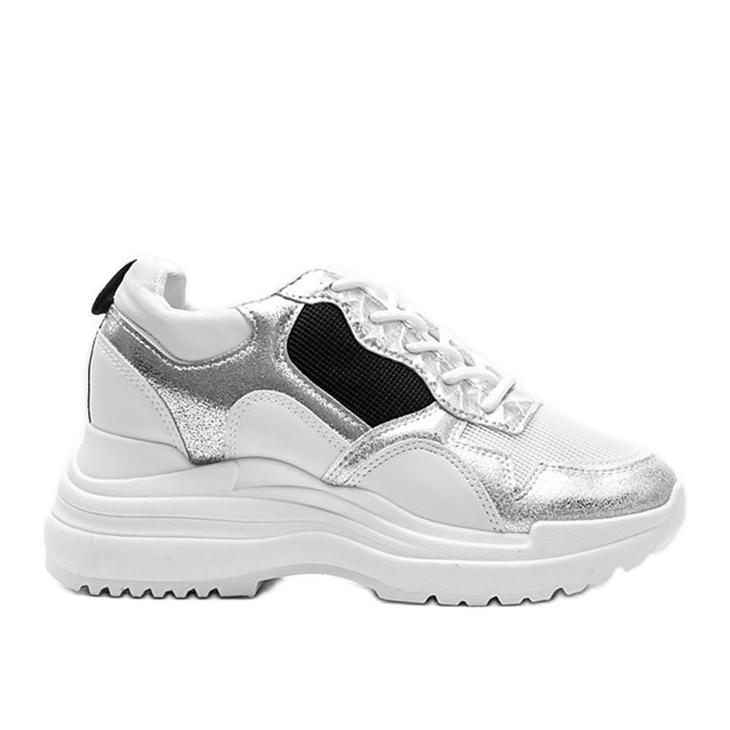 Białe sneakersy na koturnie Alexandra czarne srebrny