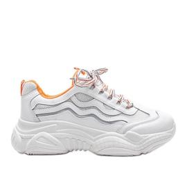 Białe sneakersy z pomarańczowymi wstawkami Jasmin