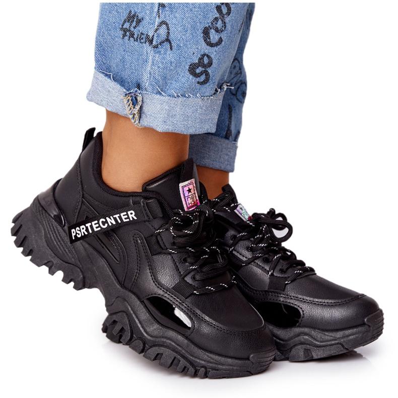 EVE Damskie Sneakersy Na Masywnej Podeszwie Czarne Laugh