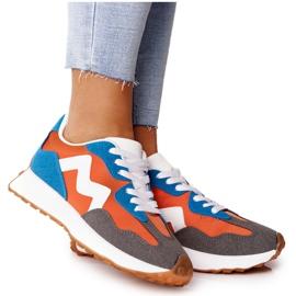 PS1 Damskie Sportowe Buty Sneakersy Pomarańczowe Move On białe niebieskie