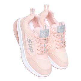 Buty sportowe damskie różowe BM-587 Pink srebrny