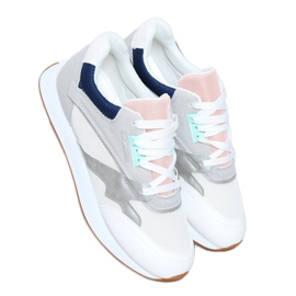 Buty sportowe damskie wielokolorowe NB372 White białe granatowe różowe srebrny szare