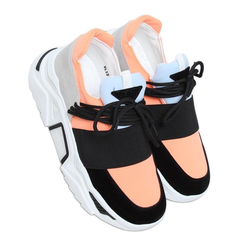 Buty sportowe na wysokiej podeszwie VL127 Black czarne różowe szare