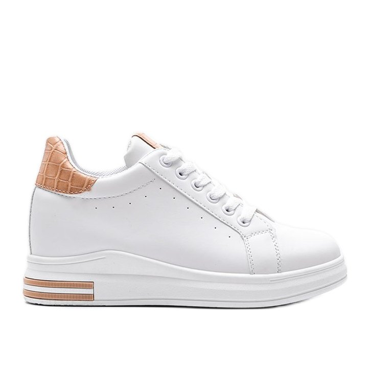 Białe sneakersy na ukrytym koturnie Halle beżowy