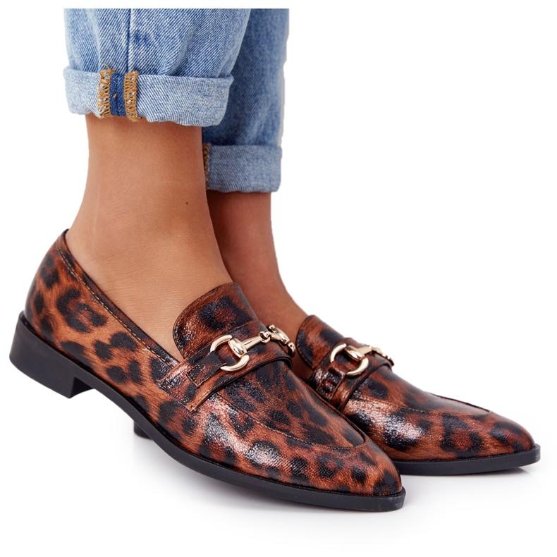 Eleganckie Damskie Mokasyny S.Barski Leopard brązowe