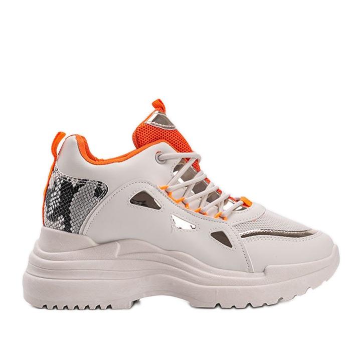 Biało beżowe sneakersy snake Felicia beżowy białe
