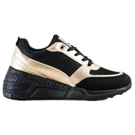 SHELOVET Klasyczne CZARNO-ZŁOTE Sneakersy czarne złoty