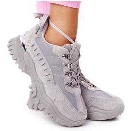 PS1 Damskie Sneakersy Na Dużej Podeszwie Szare Good Mood