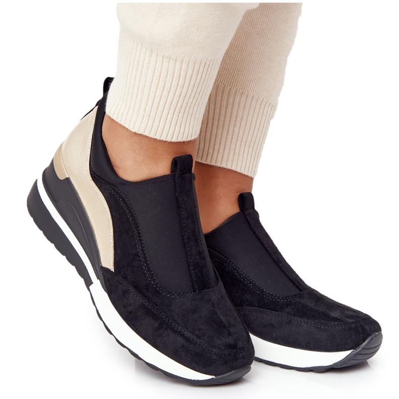 Sneakersy Na Koturnie Wsuwane Vinceza 10593 Czarno-Złote czarne zielone