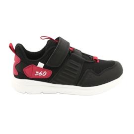 Buty sportowe wkładka skóra American Club AA06 czarny czarne czerwone