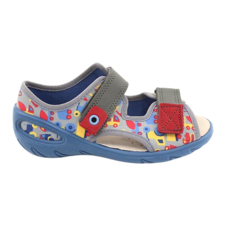 Befado obuwie dziecięce pu 065P162 niebieskie szare wielokolorowe